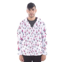 Heart Ornaments And Flowers Background In Vintage Style Hooded Wind Breaker (Men)
