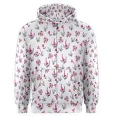 Heart Ornaments And Flowers Background In Vintage Style Men s Zipper Hoodie