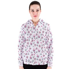Heart Ornaments And Flowers Background In Vintage Style Women s Zipper Hoodie