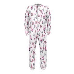Heart Ornaments And Flowers Background In Vintage Style OnePiece Jumpsuit (Kids)