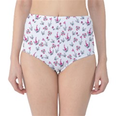 Heart Ornaments And Flowers Background In Vintage Style High-Waist Bikini Bottoms