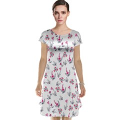 Heart Ornaments And Flowers Background In Vintage Style Cap Sleeve Nightdress