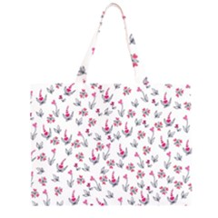 Heart Ornaments And Flowers Background In Vintage Style Zipper Large Tote Bag