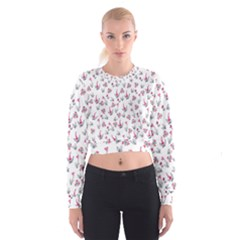 Heart Ornaments And Flowers Background In Vintage Style Women s Cropped Sweatshirt