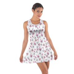 Heart Ornaments And Flowers Background In Vintage Style Cotton Racerback Dress