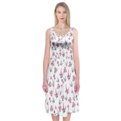 Heart Ornaments And Flowers Background In Vintage Style Midi Sleeveless Dress