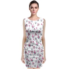 Heart Ornaments And Flowers Background In Vintage Style Classic Sleeveless Midi Dress