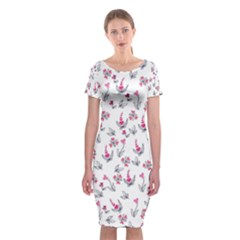 Heart Ornaments And Flowers Background In Vintage Style Classic Short Sleeve Midi Dress