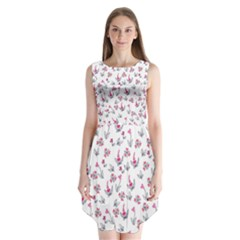 Heart Ornaments And Flowers Background In Vintage Style Sleeveless Chiffon Dress