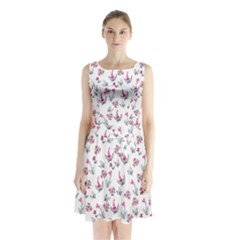 Heart Ornaments And Flowers Background In Vintage Style Sleeveless Chiffon Waist Tie Dress