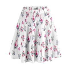 Heart Ornaments And Flowers Background In Vintage Style High Waist Skirt