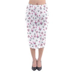 Heart Ornaments And Flowers Background In Vintage Style Midi Pencil Skirt