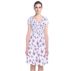 Heart Ornaments And Flowers Background In Vintage Style Short Sleeve Front Wrap Dress