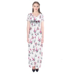 Heart Ornaments And Flowers Background In Vintage Style Short Sleeve Maxi Dress