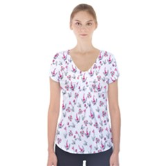 Heart Ornaments And Flowers Background In Vintage Style Short Sleeve Front Detail Top