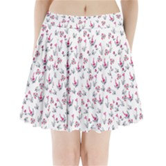 Heart Ornaments And Flowers Background In Vintage Style Pleated Mini Skirt
