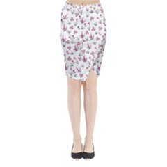 Heart Ornaments And Flowers Background In Vintage Style Midi Wrap Pencil Skirt