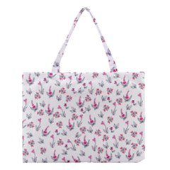 Heart Ornaments And Flowers Background In Vintage Style Medium Tote Bag