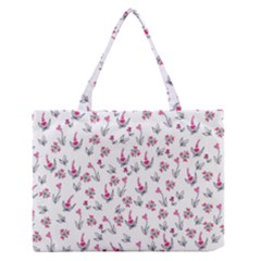 Heart Ornaments And Flowers Background In Vintage Style Medium Zipper Tote Bag