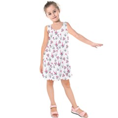 Heart Ornaments And Flowers Background In Vintage Style Kids  Sleeveless Dress