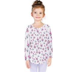Heart Ornaments And Flowers Background In Vintage Style Kids  Long Sleeve Tee