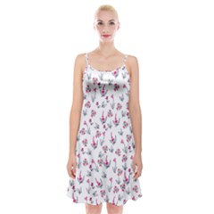 Heart Ornaments And Flowers Background In Vintage Style Spaghetti Strap Velvet Dress