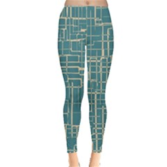 Hand Drawn Lines Background In Vintage Style Leggings