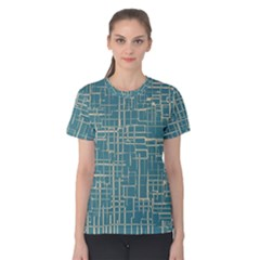 Hand Drawn Lines Background In Vintage Style Women s Cotton Tee