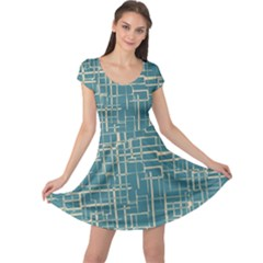 Hand Drawn Lines Background In Vintage Style Cap Sleeve Dresses