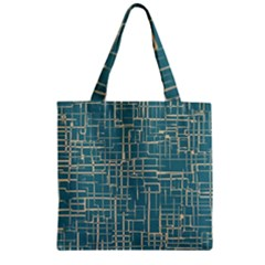 Hand Drawn Lines Background In Vintage Style Zipper Grocery Tote Bag