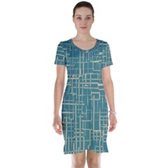 Hand Drawn Lines Background In Vintage Style Short Sleeve Nightdress