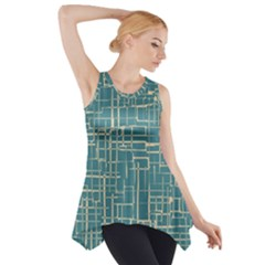 Hand Drawn Lines Background In Vintage Style Side Drop Tank Tunic