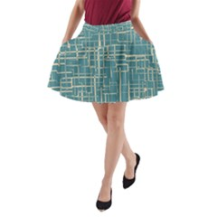 Hand Drawn Lines Background In Vintage Style A-Line Pocket Skirt