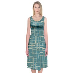 Hand Drawn Lines Background In Vintage Style Midi Sleeveless Dress