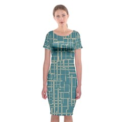 Hand Drawn Lines Background In Vintage Style Classic Short Sleeve Midi Dress