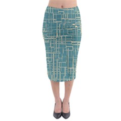 Hand Drawn Lines Background In Vintage Style Midi Pencil Skirt