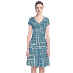 Hand Drawn Lines Background In Vintage Style Short Sleeve Front Wrap Dress