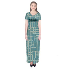 Hand Drawn Lines Background In Vintage Style Short Sleeve Maxi Dress