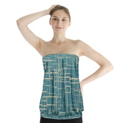 Hand Drawn Lines Background In Vintage Style Strapless Top
