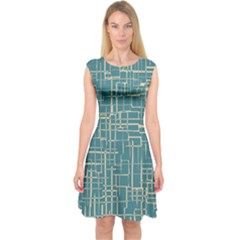 Hand Drawn Lines Background In Vintage Style Capsleeve Midi Dress