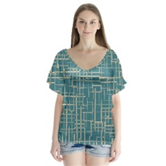 Hand Drawn Lines Background In Vintage Style Flutter Sleeve Top