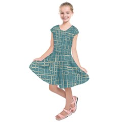 Hand Drawn Lines Background In Vintage Style Kids  Short Sleeve Dress