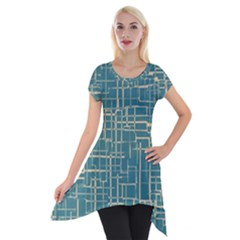 Hand Drawn Lines Background In Vintage Style Short Sleeve Side Drop Tunic
