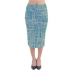 Hand Drawn Lines Background In Vintage Style Velvet Midi Pencil Skirt