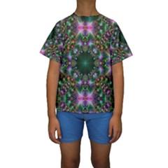 Digital Kaleidoscope Kids  Short Sleeve Swimwear