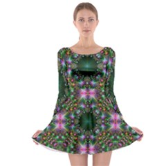 Digital Kaleidoscope Long Sleeve Skater Dress