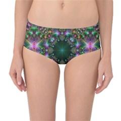Digital Kaleidoscope Mid-Waist Bikini Bottoms