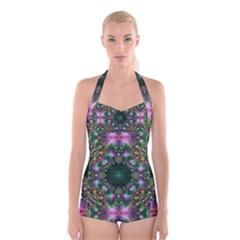 Digital Kaleidoscope Boyleg Halter Swimsuit