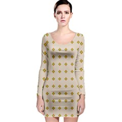 Pattern Background Retro Long Sleeve Bodycon Dress