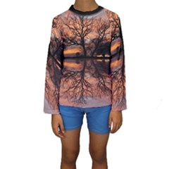 Aurora Sunset Sun Landscape Kids  Long Sleeve Swimwear